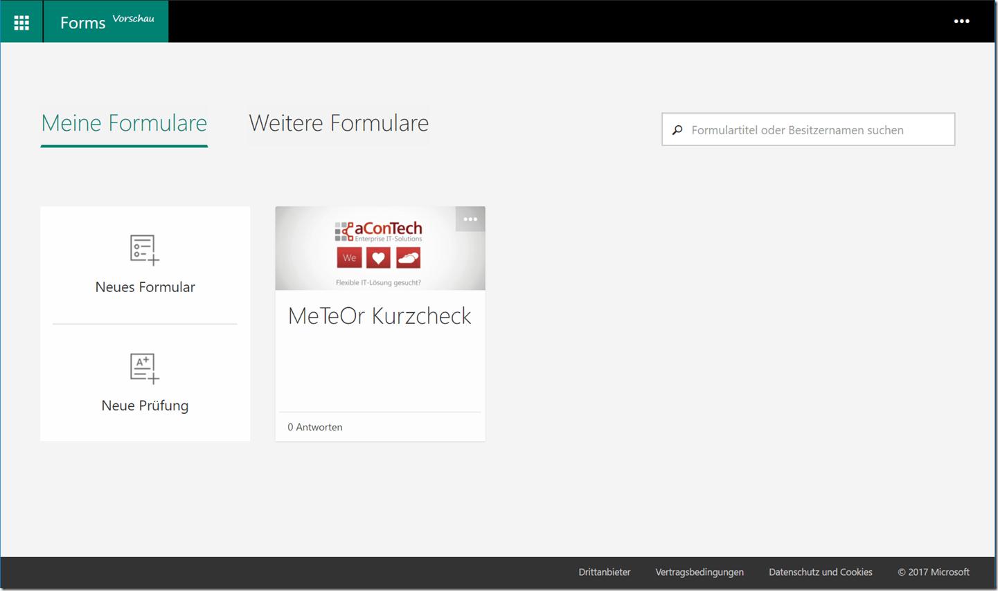 Übersicht Microsoft Forms