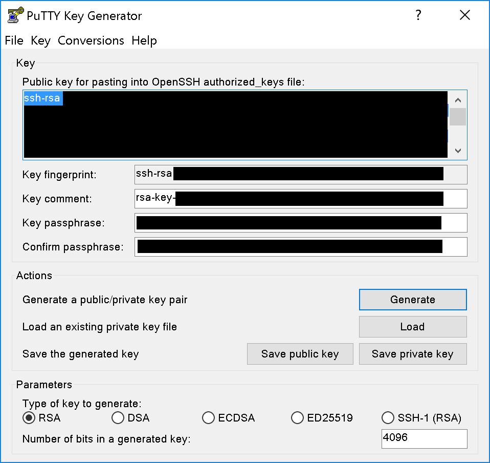 Puttygen für SSH key Erstellung mit Daten