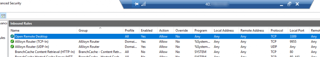 Windows RDP Firewall Regel