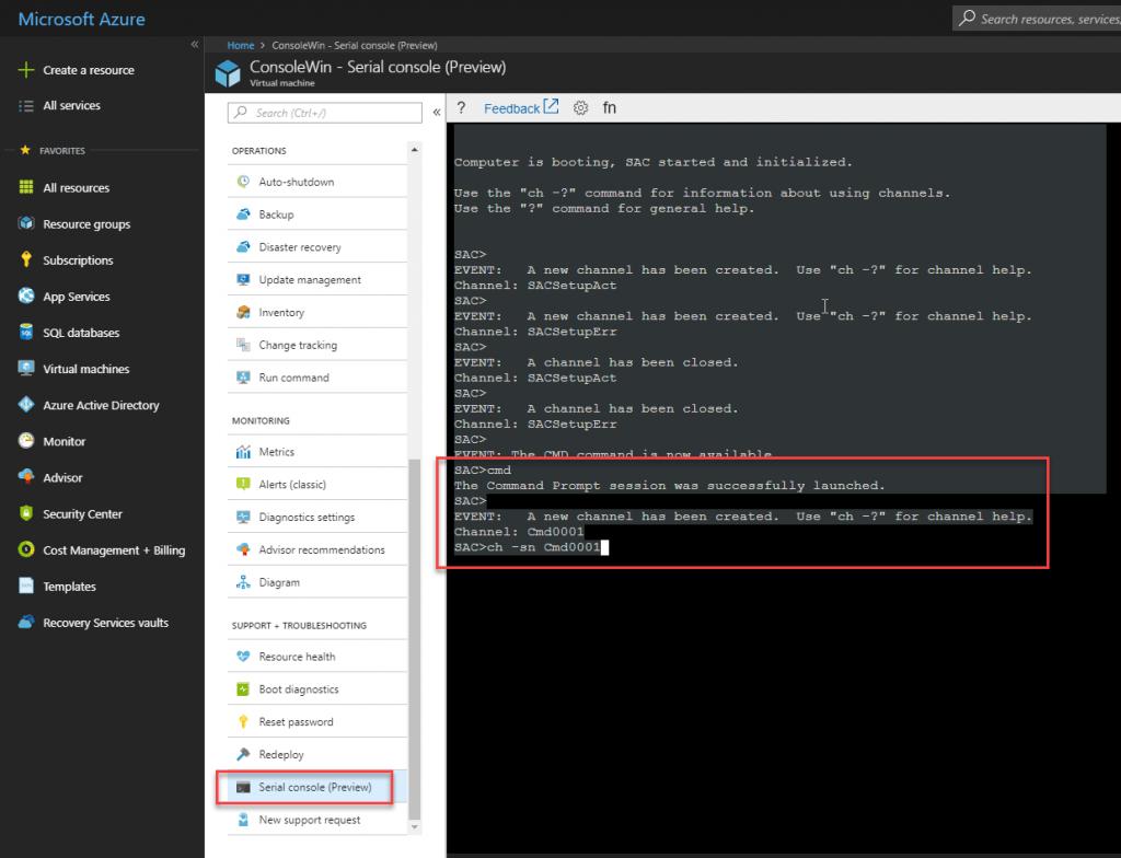 Azure Serial Concole starten