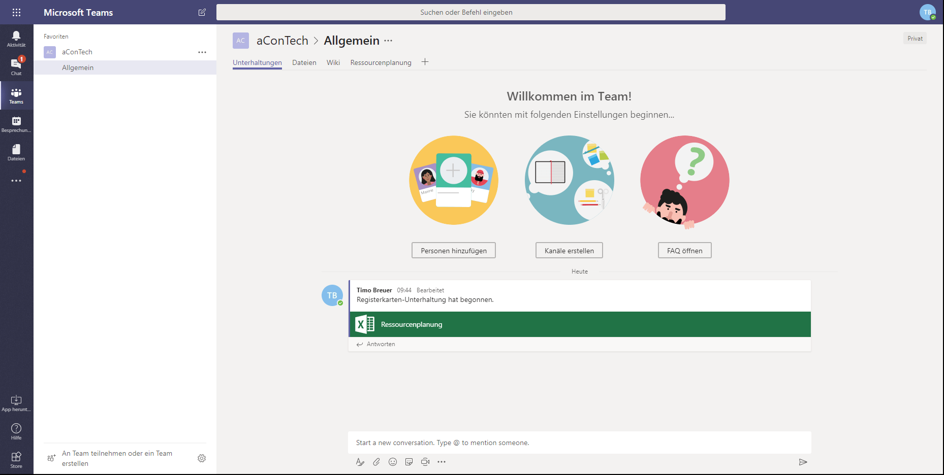 Microsoft Teams Willkommen-Screen