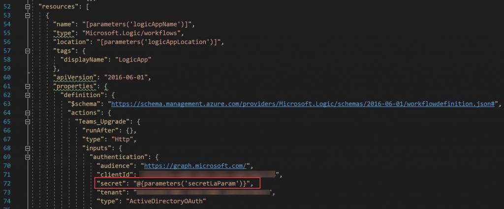 Verwendung der Parameter in der Logic App