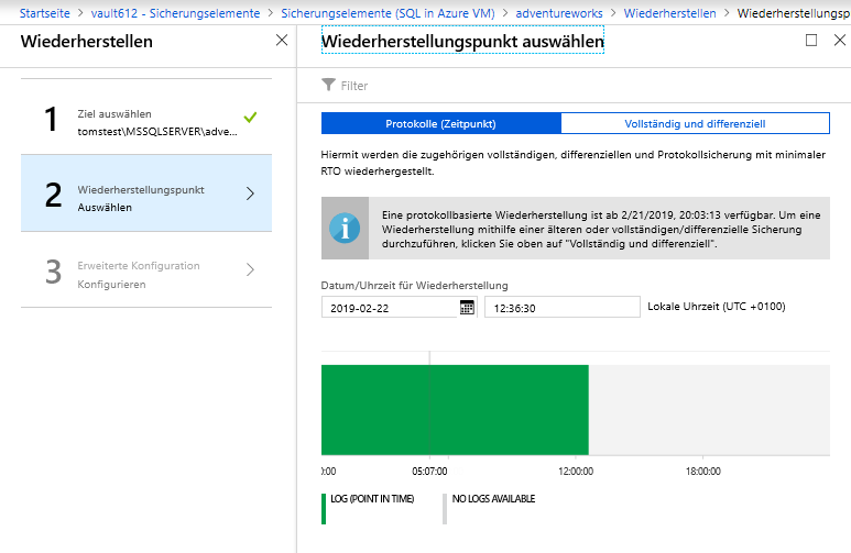 Sichern von SQL Server Datenbanken mit Microsoft Azure Backup