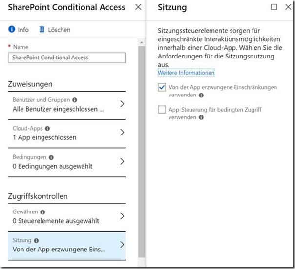 Microsoft Sitzungsbasierte Sicherheitseinstellungen
